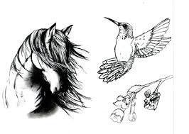 horse head n rose tattoo designs