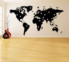 Diy World Map by Vinyl Wall Decal World Map With Google Dots Earth Atlas