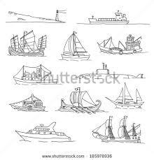 black white sketches sailing ships set stock vector 182756066