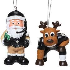 new orleans saints reindeer santa 2 pack ornament set