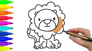 simple example how to draw lion coloring book for kids with