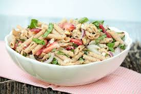 healthy pasta salad with strawberry poppy seeds and chicken food