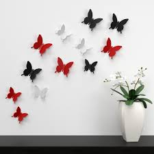 Black And White Wall Decor by White Black And Red Butterflies Wall Decor Near White And Green