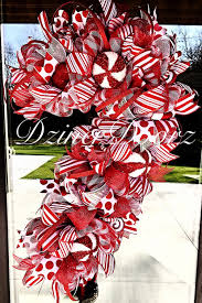 whimsical candy cane deco mesh wreath by dzinerdoorz on etsy