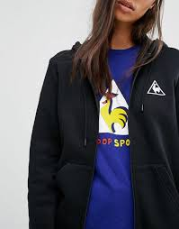 le coq sportif logo zip through hoodie black women le coq sportif