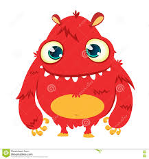 vector halloween happy cartoon monster vector halloween red furry monster stock