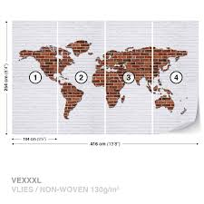 wall mural photo wallpaper xxl brick wall world map 2853ws ebay wall mural photo wallpaper xxl brick wall world