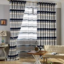 Navy Curtain Simple Design Navy Beige Thick Chenille Striped Curtains
