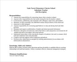 Substitute Teacher Job Description For Resume Cover Letter For Substitute Teacher Substitute Teacher Cover