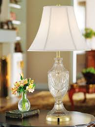 cut glass urn with brass accents table lamp crystal lamp