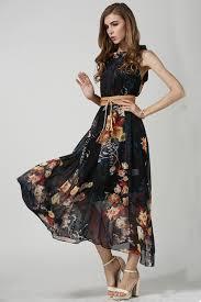 silk dresses zumeet womens sleeveless high waist printed chiffon dress black