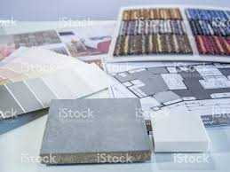 interior color samples plan with cement board carpet and furn
