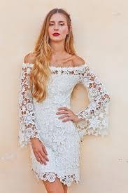 Hippie Wedding Dresses Bell Sleeves Crochet Lace Boho Hippie Wedding Dress Off Shoulder
