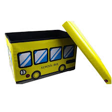 yellow bus toy box bench