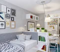 Grey Room Divider Apartment Wonderful Small Studio Apartment Idea With Room