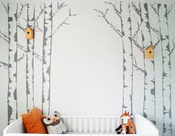 diy birch tree painted mural feature wall nursery kids room diy birch tree painted mural feature wall nursery kids room