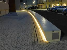 Bench Lighting Illuminated Concrete Blocks In The City Of Nordhausen Lec