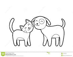 cartoon cat and dog sketch stock photos image 37824293