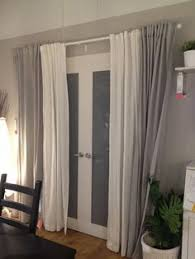 Kitchen Door Curtain by Sliding Door Curtain Rod So One Panel Can Slide Behind The Other