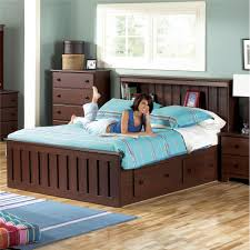 leather studded headboard queen storage bed with bookcase