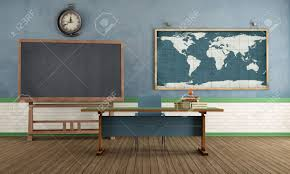 World Map Desk by Vintage Classroom With Blackboard Teacher S Desk And World Map