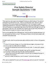 fire safety director sample questions 1 100 fire sprinkler