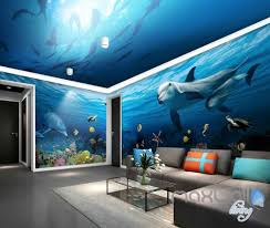 3d shoal fish undersea dophins entire room wallpaper wall murals 3d shoal fish undersea dophins entire room wallpaper wall murals art prints idcqw 000108