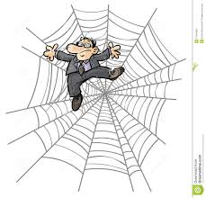 cartoon business man in spider web stock illustration image