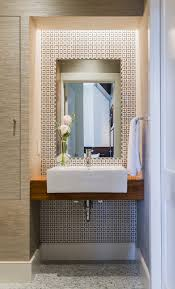 peelable wallpaper tiles powder room modern with wood baseboards