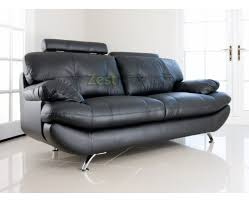 Black Faux Leather Sofa Verona 3 Seater Black Faux Leather Sofa W Adjustable Headrest In