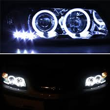 for ccfl halo 00 05 chevy impala led projector headlights blk