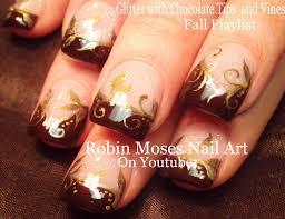 chocolate and gold filigree nails thanksgiving fall nail