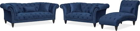 Blue Chaise Marisol Sofa Loveseat And Chaise Set Blue Value City Furniture
