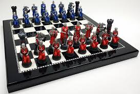 amazon chess set amazon com medieval times crusades red u0026 blue chess set hand