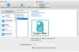 signature how to set a default signature in mac os x mail