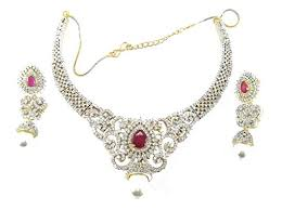 diamond ruby necklace sets images Buy aria bridal american diamond ruby pearl necklace set ad13 jpg
