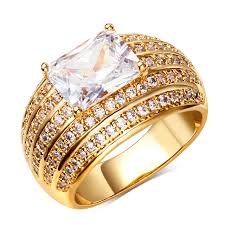 aliexpress buy fashion big size 18k gold plated men aliexpress buy new fashion big white wedding ring gold