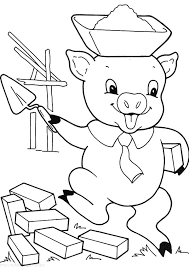 pigs build house coloring pages batch