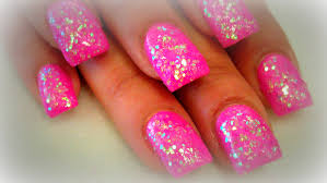 diy pink glitter nails youtube