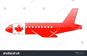 canadian flag painted on silhouette aircraft stock illustration