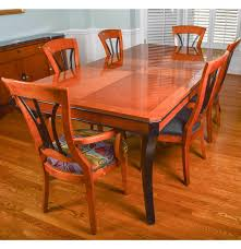 biederman style walnut dining room table and six chairs ebth
