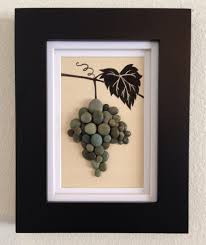 pebble art wine grapes grapevine wine green wall art