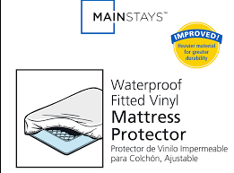 Home Design Waterproof Queen Mattress Pad by Mainstays Waterproof Fitted Vinyl Mattress Protector Walmart Com