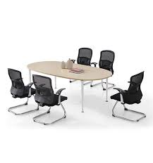 Oval Boardroom Table Cheap Price Metal Frame Melamine Office Furniture Oval Conference