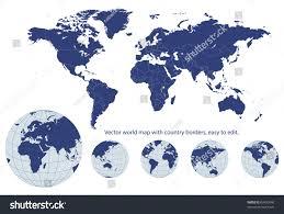map of eart world map earth globes editable vector stock vector 60450046