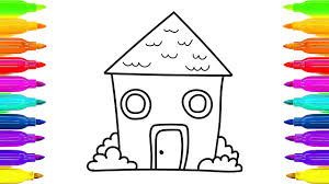 how to draw house coloring pages and animated drawing for kids