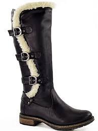 foster footwear ladies coconel faux leather fur trim buckle flat