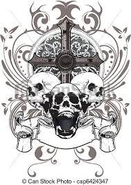skull cross three skulls with a cross and a coat of arms vectors