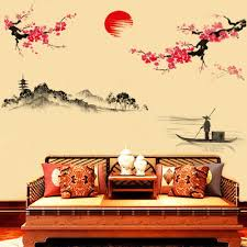 popular peach floor tile buy cheap peach floor tile lots from 2017 hot new style creative classical chinese style ink painting decor wall sticker peach blossom flowers