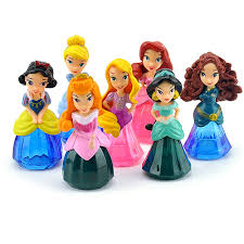 Crystal Princess Cake Topper Figure 7pcs Snow White Cinderella
